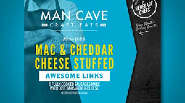 Man Cave Craft Eats Awesome Links Mac & Cheddar Cheese Stuffed Sausages