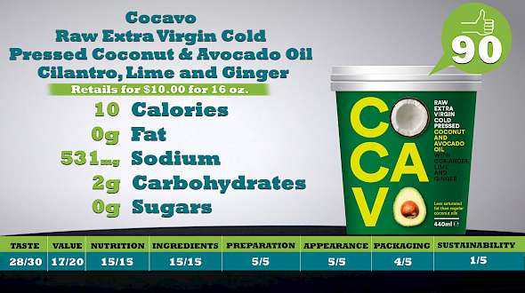Cocavo Raw Extra Virgin Cold Pressed Coconut and Avocado Oil Cilantro, Lime and Ginger