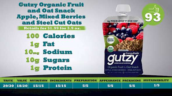 Gutzy Organic Fruit and Oat Snack Apple, Mixed Berries and Steel Cut Oats